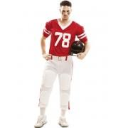 Disfraz de fútbol americano rojo para hombre