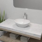 vidaXL Chiuvetă de baie cu robinet mixer, ceramică, oval, alb