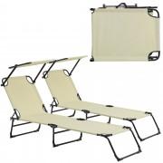 [casa.pro]® Ležaljka za sunčanje - set od 2 kom. - sa sjenilom - ležaljka za plažu - bež