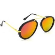 Hrinkar Wrap-around, Aviator Sunglasses(Golden, Pink)