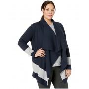 LAUREN Ralph Lauren Plus Size Color-Blocked Cotton Cardigan Lauren NavyPearl Grey Heather