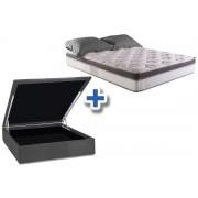 Conjunto Cama Box Baú - Colchão Herval de Molas Pocket Lofty Pillow Top One Side + Cama Box Baú Nobuck Cinza - Conjunto Box King Size - 193 x 203