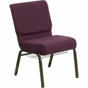 Flash Furniture Fabric Church Chair with Cup/Book Rack - Plum fabric w/Gold Vein Frame, 21 1/4Inch W x 25Inch D x 33 1/4Inch H, Model FCH2214CVBRNB