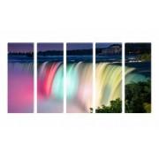 Set Tablouri Multicanvas 5 Piese Cascada Colorata - 90 x 150 cm