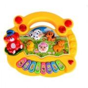 Mini Musical Animal Farm Piano Electronic Keyboard Music Development Educational Toy For Kids (Yellow)