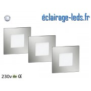 Kit support LED Chrome encastrable Sol et Mur blanc froid 1W 230v ref sms-08