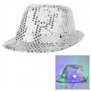 LED de luz parpadeante sequins Jazz Hat - Plata (3 * AG13)