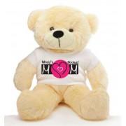 2 feet big peach teddy bear wearing a Mother's Day T-shirt