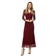 ANNA-KACI Vestido Maxi de Sirena de Halloween con Encaje Floral Elegante para Mujer, Burgundy, S