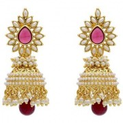 Jewels Gold Alloy Party Wear Wedding Designer Latest Jhumki Earring Set For Women Girls