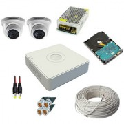 OMRC Hikvision 4CH DVR DS-7A04HGHI-F1/ECO 1MP Dome DS-2CE5AC0T-IRPF/ECO 2 Nos. 500GB HDD SMPS Cable BNC/DC.