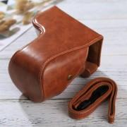 Full Body Camara Caja De Cuero De La PU Bolsa Con Correa Para Sony Ilce-6500 / A6500 (Brown)