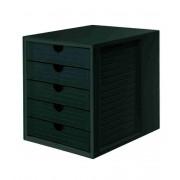 Suport plastic cu 5 sertare pentru documente, HAN - negru/negru