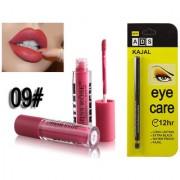 Miss Rose Liquid Matte Long Lasting Waterproof Lip gloss And ADS Extra Long Lasting Black Kajal - Combo 9