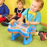 HOMCOM ® Guitarra Infantil Juguete Electrónico Musical Convertible en Piano Tambor Proyector con Luces Sonidos