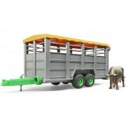 Bruder 02227 Remorcă pentru transportat animale cu figurină vacă