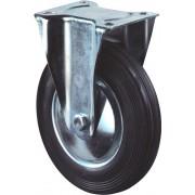 Kelfort Bokwiel met plaat 155mm, Zwart rubber loopvlak