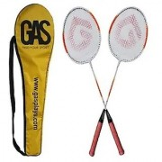 GAS SMASH LITE BEST QUALITY BADMINTON RACKET - 100 ORIGINAL- (PACK OF 2 B/R ) + 1 SHUTTLECOCK + 1 FULL TRETORN COVER