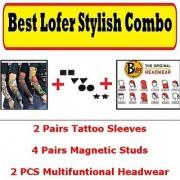Adult Original Headwear Combo of 2 Tattoo Sleeves 4 pairs Magnetic Stud non Pierced Earrings 2 Buff Head wear CODEFa-7180