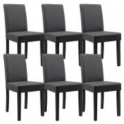 [en.casa]® 6 sillas tapizadas (gris oscuro) (alta calidad) con patas de madera maciza / piel sintética / elegante / set ahorro