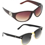 Zyaden Brown Oval UV Protection Unisex Sunglasses Combo