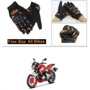 AutoStark Gloves KTM Bike Riding Gloves Orange and Black Riding Gloves Free Size For Hero Xtreme 200S