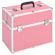 vidaXL rózsaszín alumínium sminktáska 37 x 24 x 35 cm