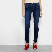 Calça Jeans Skinny Sawary Dois Botões Cintura Baixa Feminina - Feminino-Azul Escuro