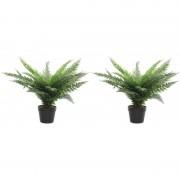 Shoppartners 2x Groene varens kunstplanten 60 cm met zwarte pot