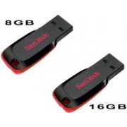 SanDisk Cruzer Blade Pack Of 8gb And 16 GB Pen Drive(Red, Black)