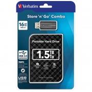 """Verbatim Externe 2,5""""-Festplatte 1,5 TB, USB 3.0, inkl. USB-Stick 16 GB USB 2.0"""