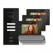 Kit videointerfon Electra Touch Line Smart+ VKM.P3SR.T7S4.ELB04, 3 familii, aparent, 7 inch