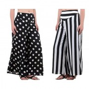 Black White Dotted Palazzo For Women (Pack Of 2)