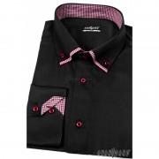Pánská košile SLIM s dlouhým rukávem Černá Avantgard 120-2313-43/44/182