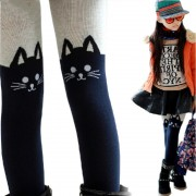2017 Spring Autumn Girls Tights Cartoon Cat Patchwork Baby Girl Pantyhose Knitted Cotton Cute kids Stocking Cotton Warm Tights