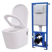 vidaXL Keramické závesné WC so skrytou nádržou, biele (244270+142249)
