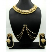 Golden Tilak Jhumka With Ear Chain Pearl Necklace Set