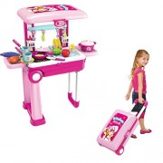 Mayatra's 2 in 1 Carry-On Kitchen Play Set with Trolley with Light & Sound for Your Little Princess - Multi Color