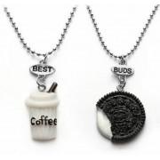 Kávé és keksz dupla barátság nyaklánc