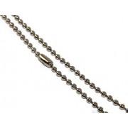 catena collana palline acciaio tipo militare per targa pendente girocollo spessore 3,00 mm (cm 80)