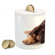 German Shepherd Coin Box Bank by Lunarable, Puppy Hound Photograph Purebred Canine with Innocent Expression, Printed Ceramic Coin Bank Money Box for Cash Saving, Brown and Dark Brown