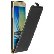 Lederen Zwart Samsung Galaxy A7 2015 A700F Flip case case Telefoonhoesje