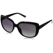 Polaroid Sunglasses Women's Polarized Square Sunglasses, Shiny Black & Gray Gradient Polarized, 57 mm