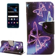 For Huawei P10 Lite Purple Crystal Butterflies Pattern Horizontal Flip Leather Case with Holder & Card Slots & Wallet