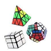 MagiDeal 3Pcs Silver Mirror Cube Triangle Pyramid Magic Cube Megaminx Speed Cube Puzzles ABS Ultra-smooth Professional Twist Cube Smart Brain Teaser Toys Game for Christmas Birthday Gifts