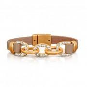 BAGISIMO SELECTION Dámský široký kožený náramek s řetězem zdobeným kamínky - světle hnědý PL25