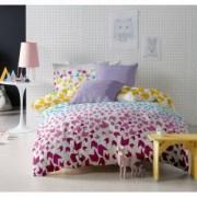 Lenjerie de pat Dormisete bumbac 100 Loving Matisse Rose pentru pat 2 persoane 4 piese 180x215 / 50x70 cearceaf pat uni lila