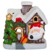Suport lumanare decorativ maro casa lui mos craciun brad cadouri ceramica