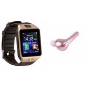 Zemini DZ09 Smart Watch and HBQ I7R Bluetooth Headphone for SAMSUNG GALAXY GALAXY CORE MAX(DZ09 Smart Watch With 4G Sim Card Memory Card| HBQ I7R Bluetooth Headphone)