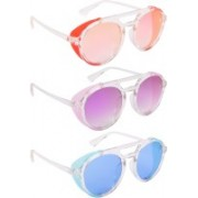NuVew Round, Shield Sunglasses(Pink, Violet, Blue)